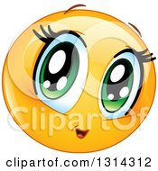 Clipart Of A Cartoon Female Manga Girl Emoticon With Big Green Eyes Royalty Free Vector Illustration