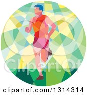 Clipart Of A Retro Geometric Low Poly Male Marathon Runner In A Green And Yellow Circle Royalty Free Vector Illustration