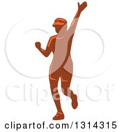 Clipart Of A Retro Female Marathon Runner Waving Royalty Free Vector Illustration