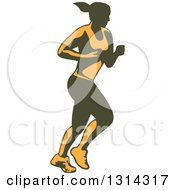 Clipart Of A Retro Yellow And Olive Green Female Marathon Runner Royalty Free Vector Illustration