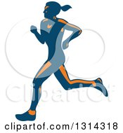 Clipart Of A Retro Blue And Orange Female Marathon Runner 2 Royalty Free Vector Illustration