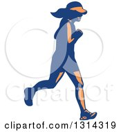Clipart Of A Retro Blue And Orange Female Marathon Runner Royalty Free Vector Illustration