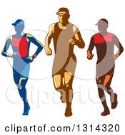 Clipart Of Retro Male Triathlete Or Marathon Runners Royalty Free Vector Illustration