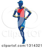 Clipart Of A Retro Male Triathlete Or Marathon Runner Royalty Free Vector Illustration