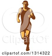 Clipart Of A Retro Male Triathlete Or Marathon Runner 2 Royalty Free Vector Illustration