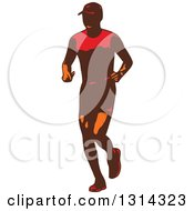 Clipart Of A Retro Male Triathlete Or Marathon Runner 3 Royalty Free Vector Illustration