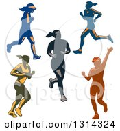 Clipart Of Retro Female Marathon Runners In Action Royalty Free Vector Illustration
