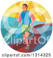 Clipart Of A Retro Geometric Low Poly Male Marathon Runner On A Path In A Circle Royalty Free Vector Illustration