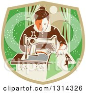 Clipart Of A Retro Seamstress Woman Sewing With A Machine By A Window In A Tan And Green Shield Royalty Free Vector Illustration