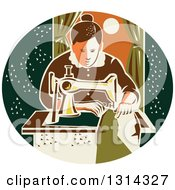 Clipart Of A Retro Seamstress Woman Sewing With A Machine By A Window In A Dark Green Oval Royalty Free Vector Illustration