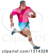 Clipart Of A Retro Geometric Low Poly Rugby Player Running Royalty Free Vector Illustration