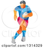 Clipart Of A Retro Geometric Low Poly Rugby Player Running 2 Royalty Free Vector Illustration