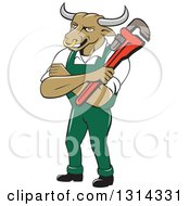 Clipart Of A Cartoon Bull Man Plumber Mascot With Folded Arms Holding A Monkey Wrench Royalty Free Vector Illustration