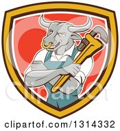 Clipart Of A Cartoon Bull Man Plumber Mascot With Folded Arms Holding A Monkey Wrench In A Brown Yellow White And Red Shield Royalty Free Vector Illustration