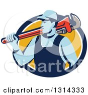 Clipart Of A Retro Male Plumber Holding A Giant Monkey Wrench Over His Shoulder In A Blue White And Yellow Circle Royalty Free Vector Illustration