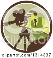 Clipart Of A Retro Movie Maker Camera Man Working With A Tripod In A Brown White And Green Circle Royalty Free Vector Illustration