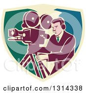 Clipart Of A Retro Movie Maker Camera Man Working With A Tripod In A Shield Royalty Free Vector Illustration by patrimonio
