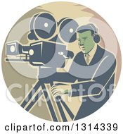 Clipart Of A Retro Movie Maker Camera Man Working With A Tripod In A Circle Royalty Free Vector Illustration by patrimonio