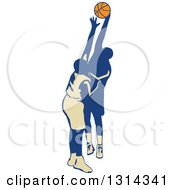 Clipart Of A Retro Male Basketball Player Trying To Make A Shot And Being Blocked Royalty Free Vector Illustration