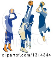 Clipart Of Retro Male Basketball Players Shooting And Blocking Royalty Free Vector Illustration