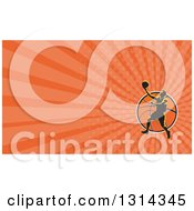 Clipart Of A Retro Basketball Player Performing A Layup Over A Ball And Orange Rays Background Or Business Card Design Royalty Free Illustration