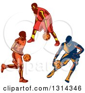 Clipart Of Retro Woodcut Male Basketball Players Dribbling Royalty Free Vector Illustration