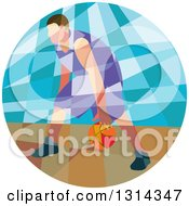 Clipart Of A Retro Low Poly White Male Basketball Player Dribbling In A Circle Royalty Free Vector Illustration
