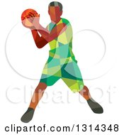 Clipart Of A Retro Low Poly Black Male Basketball Player Holding The Ball Royalty Free Vector Illustration