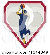 Clipart Of A Retro Male Basketball Player Doing A Jump Shot In A Shield Royalty Free Vector Illustration by patrimonio