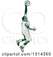 Clipart Of A Retro Male Basketball Player Doing A Jump Shot Royalty Free Vector Illustration by patrimonio