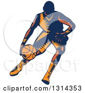 Clipart Of A Retro Woodcut Male Basketball Player Dribbling 4 Royalty Free Vector Illustration by patrimonio