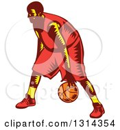 Clipart Of A Retro Woodcut Male Basketball Player Dribbling 3 Royalty Free Vector Illustration
