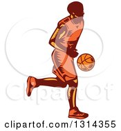 Clipart Of A Retro Woodcut Male Basketball Player Dribbling 2 Royalty Free Vector Illustration