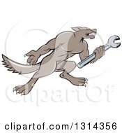 Cartoon Wolf Mechanic Mascot Facing Right And Holding A Wrench