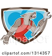 Cartoon Wolf Mechanic Mascot Wearing Red Overalls And Holding A Wrench In A Brown White And Blue Shield