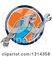 Cartoon Wolf Mechanic Mascot Wearing Blue Overalls And Holding A Wrench In A Blue White And Orange Circle
