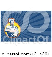 Clipart Of A Retro Cartoon Male Chef Holding A Mixing Bowl And Blue Rays Background Or Business Card Design Royalty Free Illustration