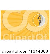 Clipart Of A Retro Female Marathon Runner And Yellow Rays Background Or Business Card Design Royalty Free Illustration
