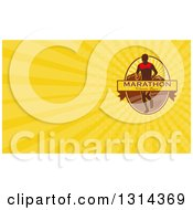 Clipart Of A Retro Male Marathon Runner With A Banner Mountains And Yellow Rays Background Or Business Card Design Royalty Free Illustration