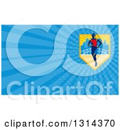 Clipart Of A Retro Male Marathon Runner In A City And Blue Rays Background Or Business Card Design Royalty Free Illustration