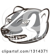 Clipart Of A Cartoon Honey Badger Mascot Head Royalty Free Vector Illustration by patrimonio