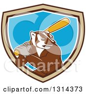 Clipart Of A Cartoon Honey Badger Baseball Mascot Batting In A Brown Tan White And Blue Shield Royalty Free Vector Illustration by patrimonio