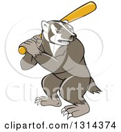 Clipart Of A Cartoon Honey Badger Baseball Mascot Batting Royalty Free Vector Illustration by patrimonio