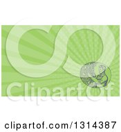 Clipart Of A Retro Sketched Farmer Trimming A Plum Tree And Green Rays Background Or Business Card Design Royalty Free Illustration