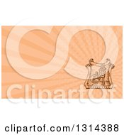 Clipart Of A Retro Sketched Or Engraved Male Farmer Using A Giant Fork In A Crest With A Barn And Salmon Pink Rays Background Or Business Card Design Royalty Free Illustration