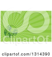 Sketched Or Engraved Herbicide Sprayer And Green Rays Background Or Business Card Design