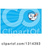 Clipart Of A Cartoon Polar Bear Plumber Mascot Wielding A Monkey Wrench And Blue Rays Background Or Business Card Design Royalty Free Illustration by patrimonio