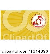 Clipart Of A Retro Male Scientist Using A Microscope And Yellow Rays Background Or Business Card Design Royalty Free Illustration by patrimonio