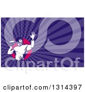 Clipart Of A Retro Male American Football Player Throwing And Purple Rays Background Or Business Card Design Royalty Free Illustration