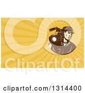 Clipart Of A Retro Brown Toned Cameraman And Yellow Rays Background Or Business Card Design Royalty Free Illustration